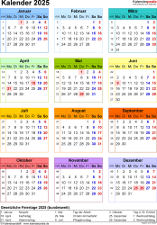 Vorlage 17: Kalender 2025 als Microsoft Word-Datei (.docx), Hochformat, 1 Seite, Jahresübersicht, in Farbe