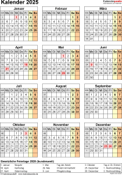 Vorlage 18: Kalender 2025 als Microsoft Word-Datei (.docx), Jahresansicht, Hochformat, 1 Seite