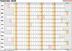 Vorlage 7: Kalender 2025 als Microsoft Word-Datei (.docx), Querformat, 1 Seite, Wochentage untereinander