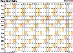 Vorlage 6: Kalender 2025 als Microsoft Word-Datei (.docx), Querformat, 1 Seite, Tage linear