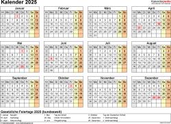 Vorlage 9: Kalender 2025 als Microsoft Word-Datei (.docx), Querformat, 1 Seite, Jahresübersicht