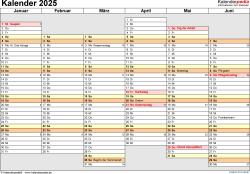 Vorlage 4: Kalender 2025 als Microsoft Word-Datei (.docx), Querformat, 2 Seiten, Wochentage linear/nebeneinander, 1. und 2. Jahreshälfte auf jeweils eigener Seite
