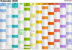 Vorlage 1: Kalender 2025 als Microsoft Word-Datei (.docx), Querformat, 1 Seite, Monate nebeneinander, jeder Monate in anderer Farbe