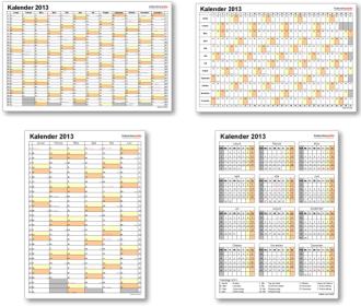 Kalendervorlagen 2013 für Excel