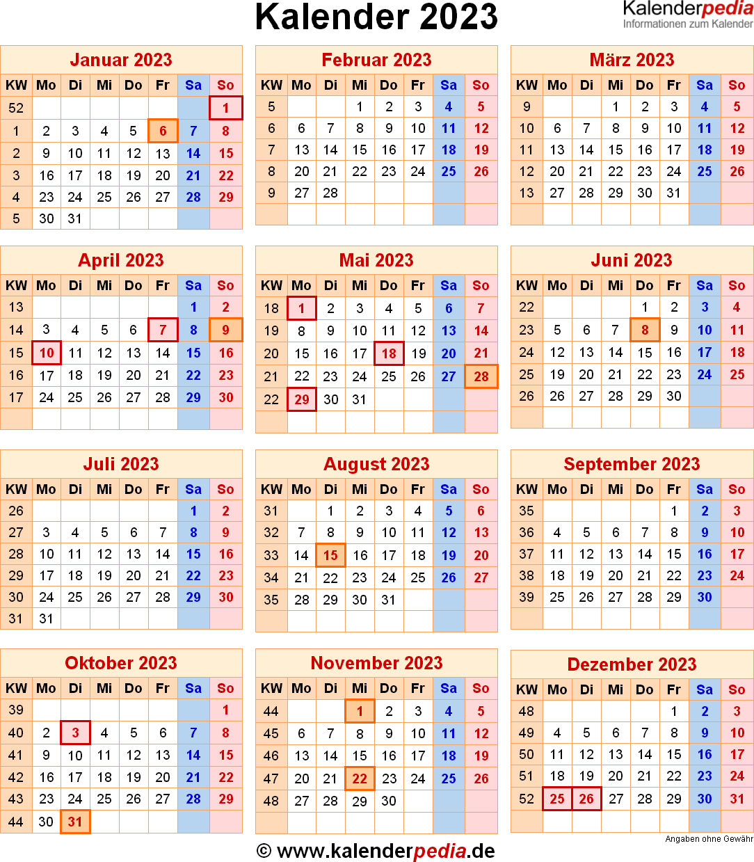 Kalender 2023