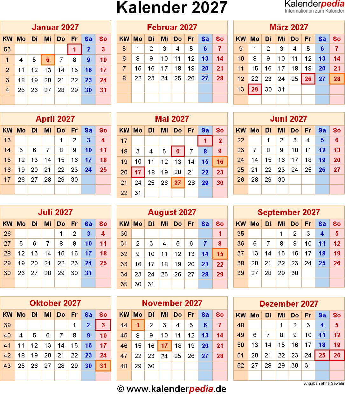 Kalender 2027