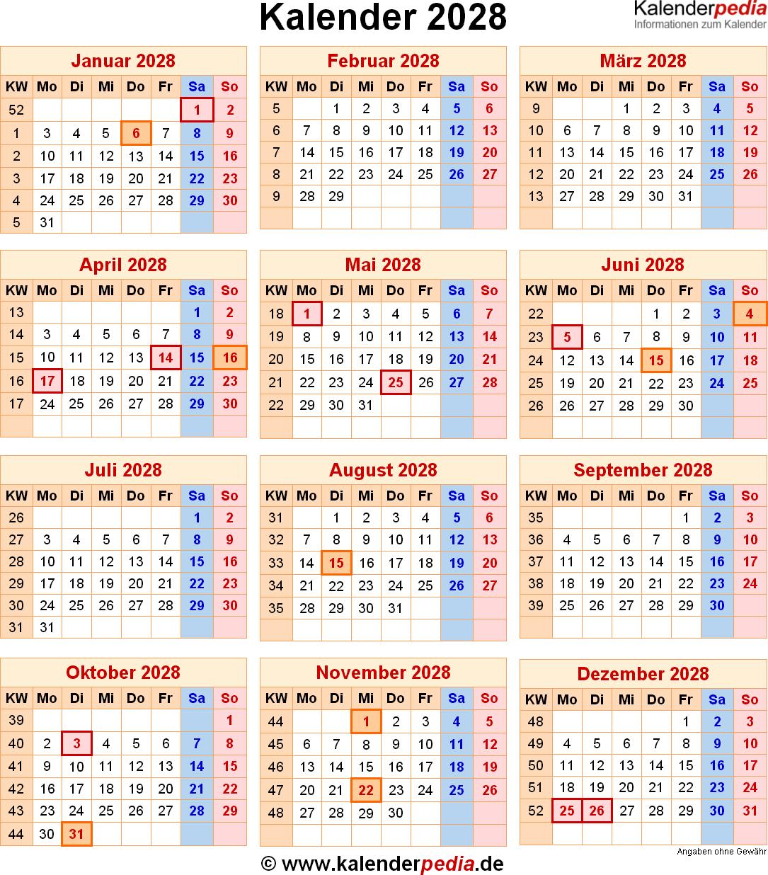 Kalender 2028