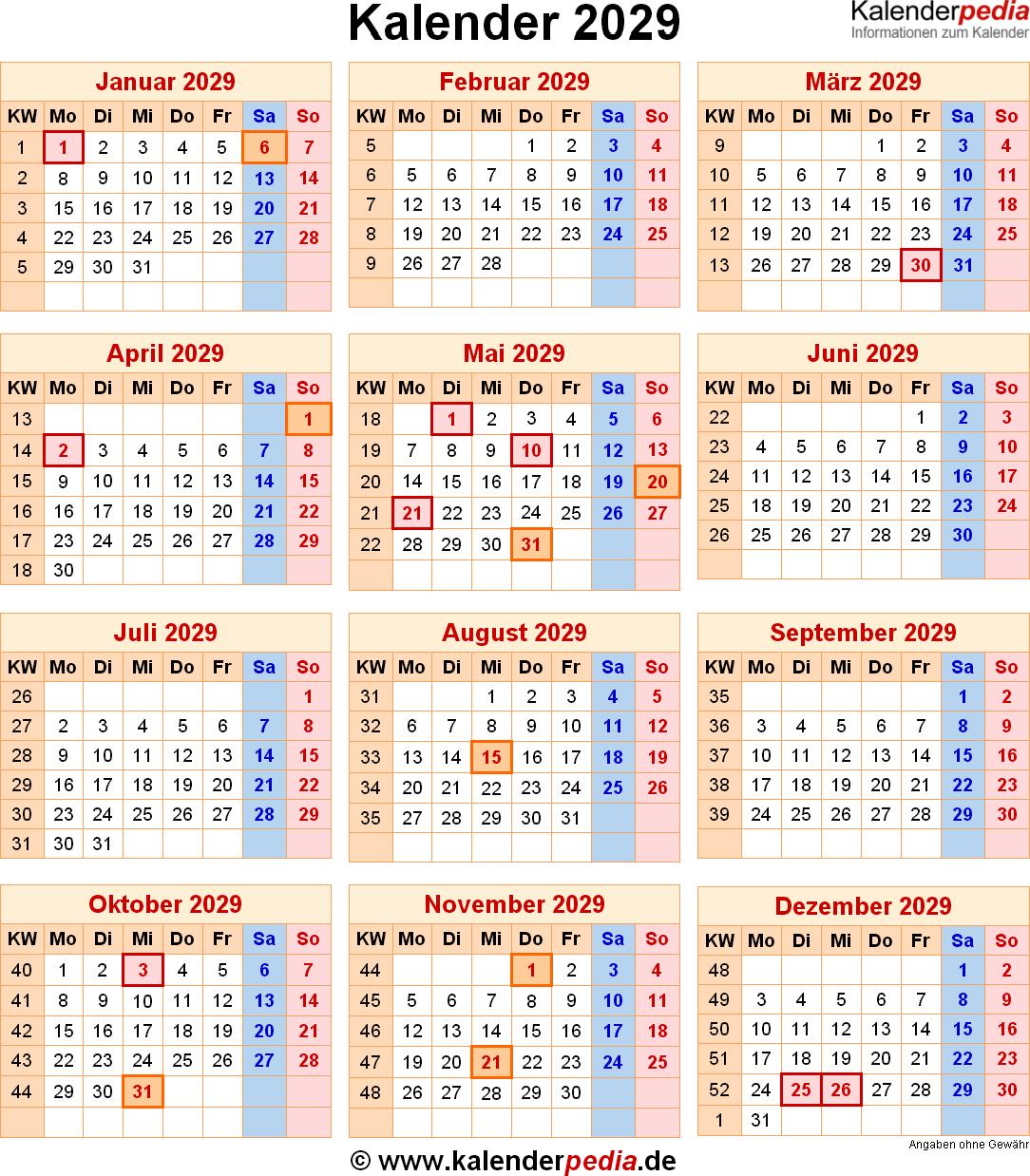 Kalender 2029