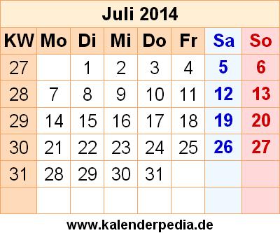 Kalender Juli 2014 Mit Feiertagen Und Excelpdfword Vorlagen Picture ...