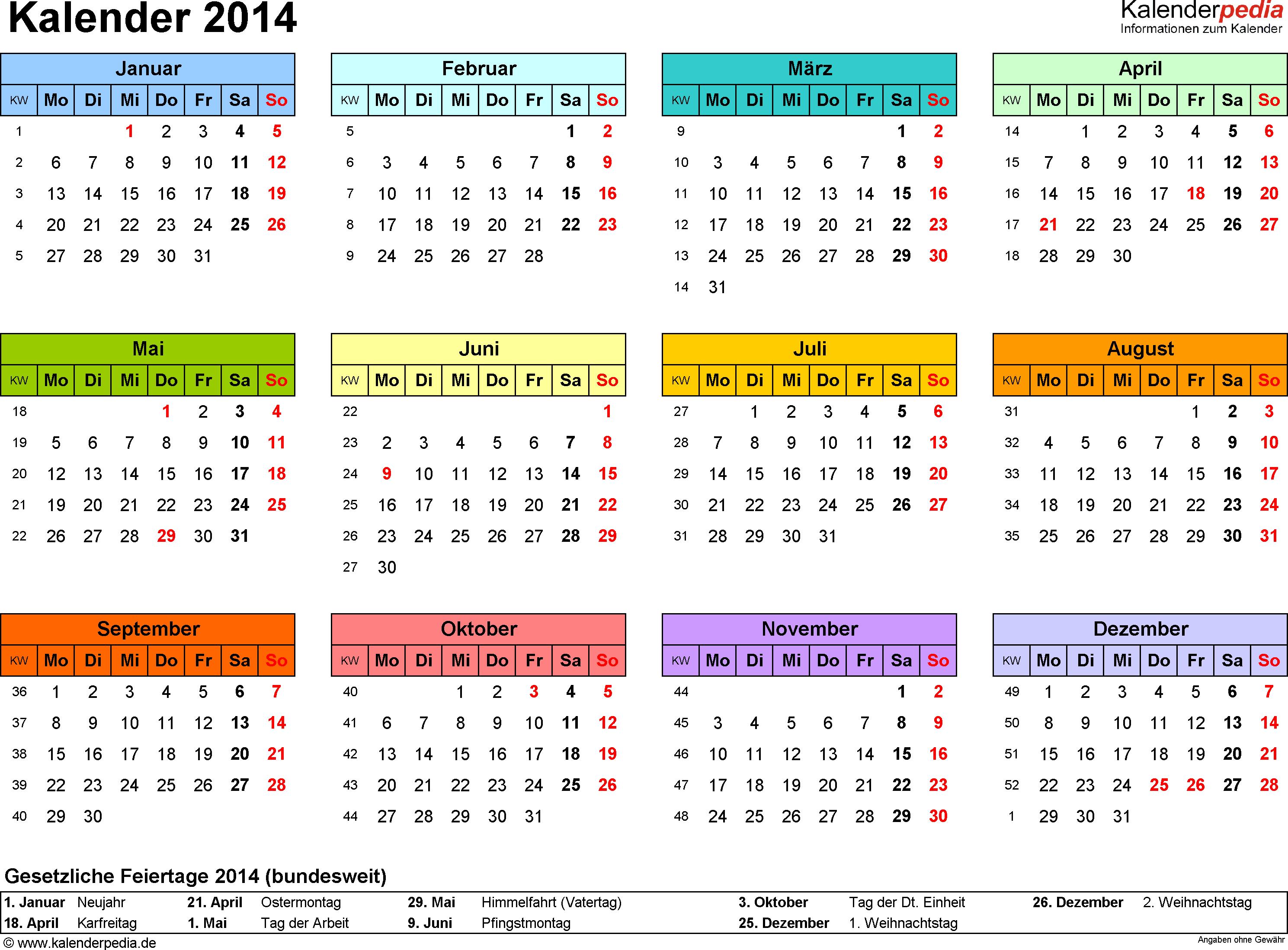 Vorlage 7: Kalender 2014 für <span style=white-space:nowrap;>Word, Querformat, 1 Seite, Jahresübersicht, in Farbe