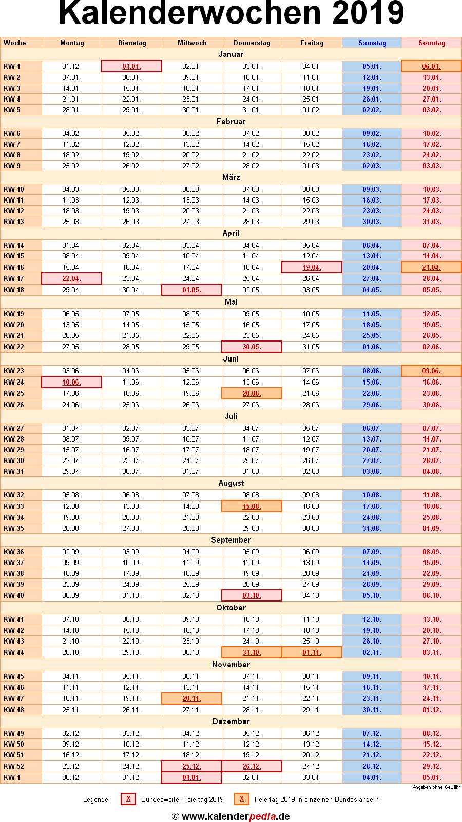 Kalenderwochen 2019 mit Vorlagen für Excel, Word & PDF