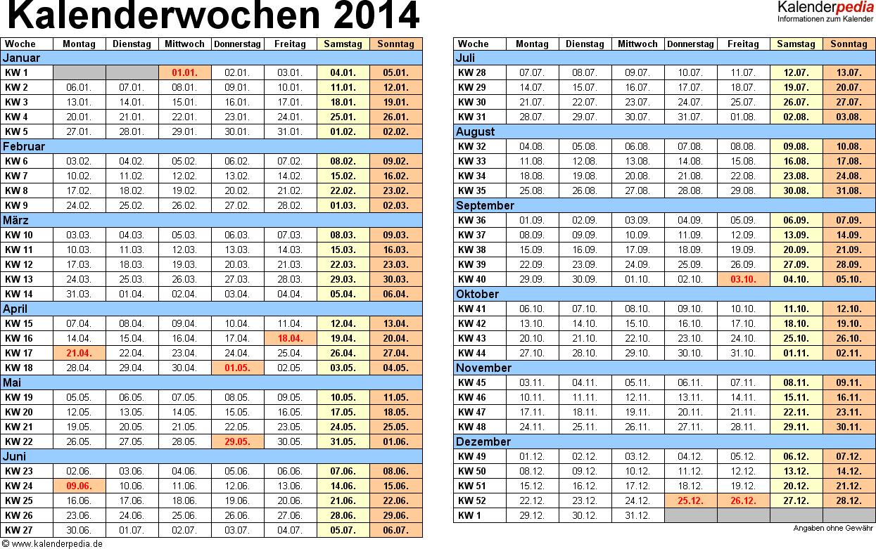 Vorlage 1: Kalenderwochen 2014 mit Monaten im Querformat als Excel-, Word- & PDF-Dateien