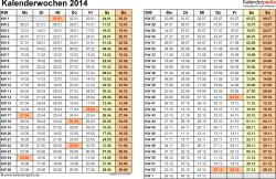 Vorlage 3: Kalenderwochen 2014 im Querformat als Excel-, Word- & PDF-Dateien