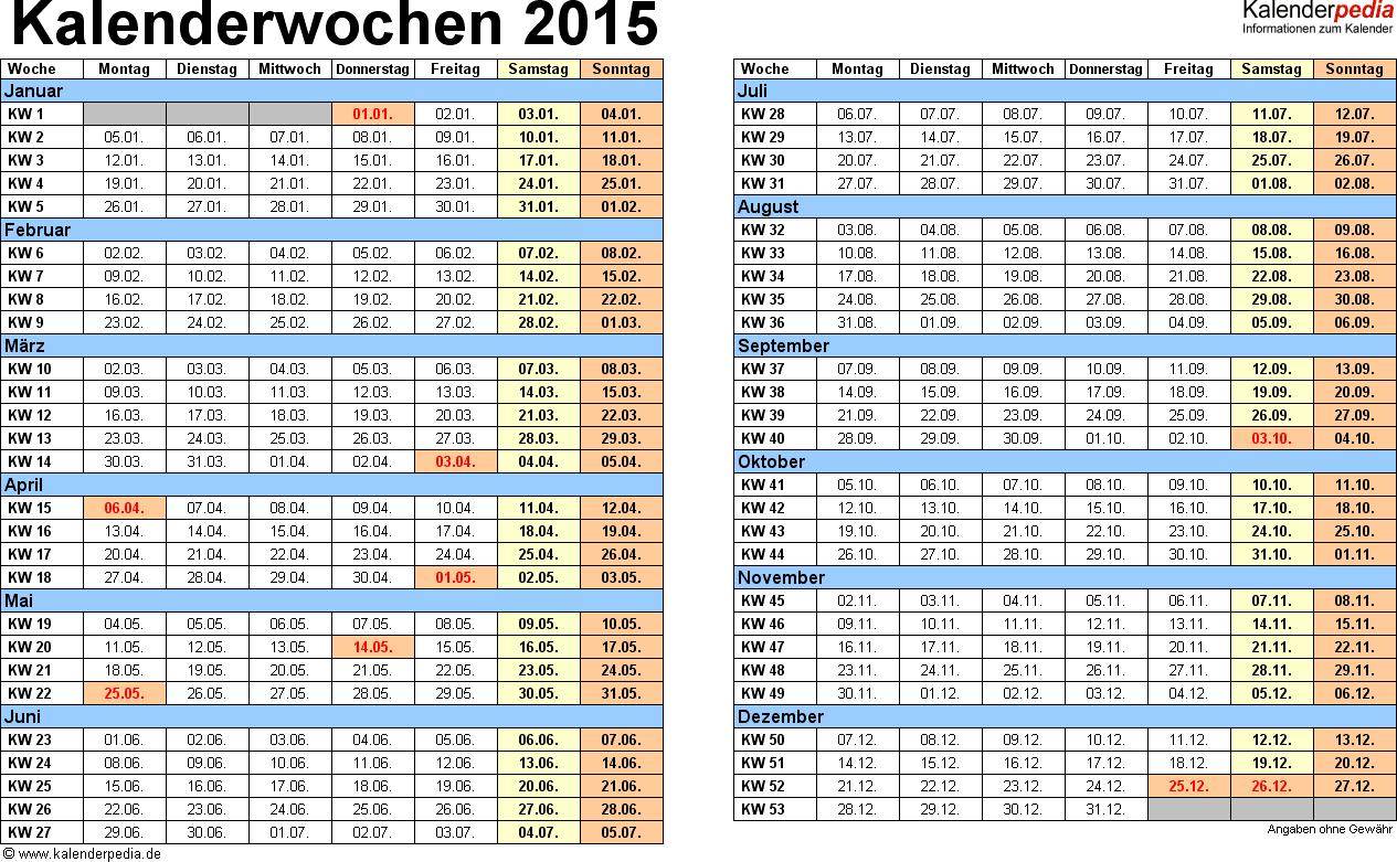 Vorlage 1: Kalenderwochen 2015 mit Monaten im Querformat als Excel-, Word- & PDF-Dateien