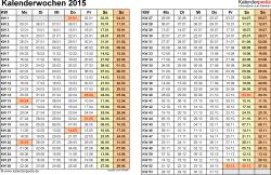 Vorlage 3: Kalenderwochen 2015 im Querformat als Excel-, Word- & PDF-Dateien