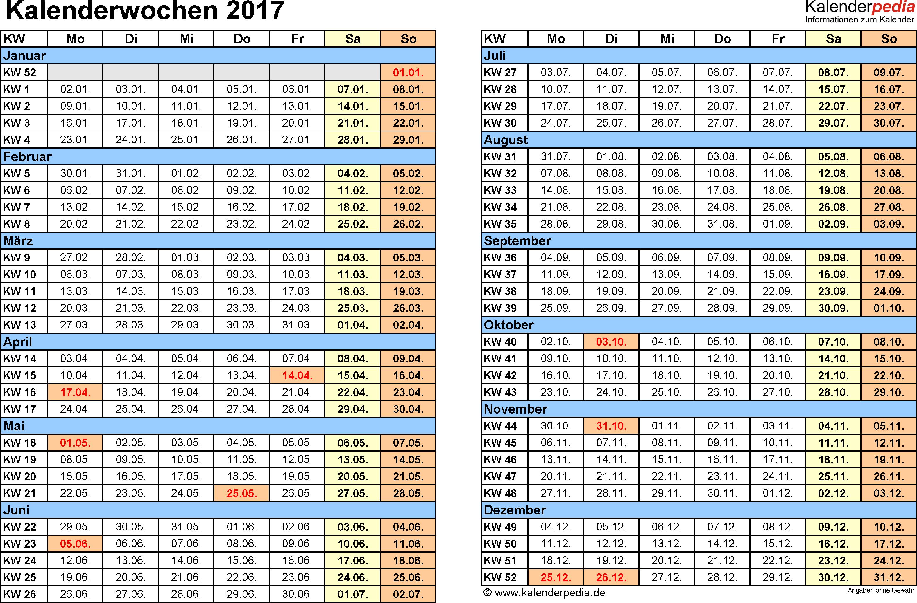Vorlage 1: Kalenderwochen 2017 mit Monaten im Querformat als Excel-, Word- & PDF-Dateien