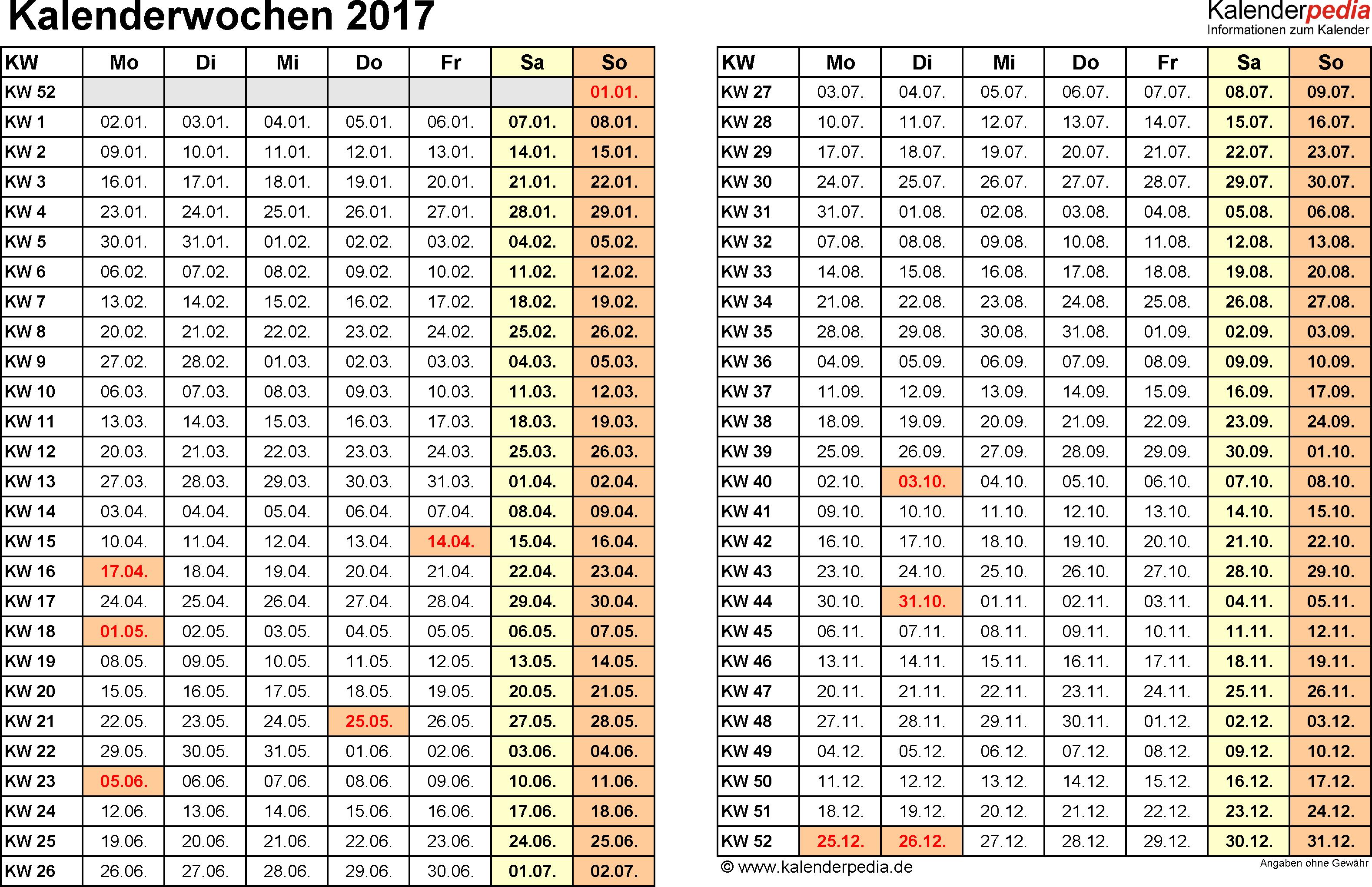 Vorlage 3: Kalenderwochen 2017 im Querformat als Excel-, Word- & PDF-Dateien