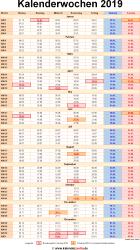 Kalenderwochen 2019 mit vorlagen f r excel word pdf