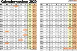 Vorlage 3: Kalenderwochen 2020 im Querformat als Excel-, Word- & PDF-Dateien