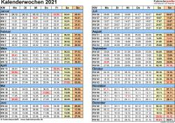 Vorlage 1: Kalenderwochen 2021 mit Monaten im Querformat als Excel-, Word- & PDF-Dateien