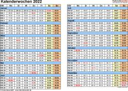 Vorlage 1: Kalenderwochen 2022 mit Monaten im Querformat als Excel-, Word- & PDF-Dateien