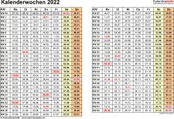 Vorlage 3: Kalenderwochen 2022 im Querformat als Excel-, Word- & PDF-Dateien