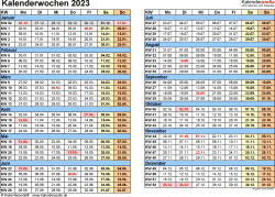 Vorlage 1: Kalenderwochen 2023 mit Monaten im Querformat als Excel-, Word- & PDF-Dateien