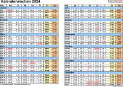 Vorlage 1: Kalenderwochen 2024 mit Monaten im Querformat als Excel-, Word- & PDF-Dateien