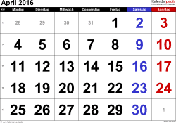 Kalender April 2016 im Querformat, grosse Ziffern