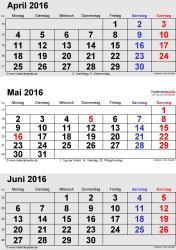3-Monats-Kalender April/Mai/Juni 2016 im Hochformat