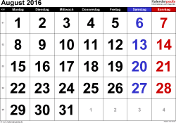 Kalender August 2016 im Querformat, grosse Ziffern
