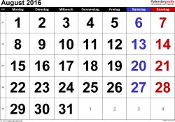 Kalender August 2016 im Querformat, grosse Ziffern