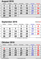 3-Monats-Kalender August/September/October 2016 im Hochformat
