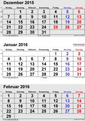 3-Monats-Kalender Dezember 2015/ Januar/Februar2016 im Hochformat