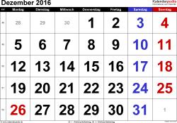 Kalender Dezember 2016 im Querformat, grosse Ziffern
