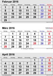 3-Monats-Kalender Februar/März/April 2016 im Hochformat