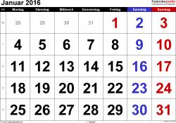 Kalender Januar 2016 im Querformat, grosse Ziffern