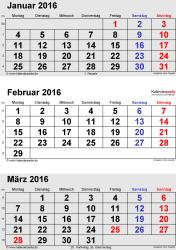3-Monats-Kalender Januar/Februar/März 2016 im Hochformat