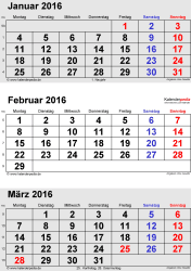 3-Monats-Kalender Februar 2016