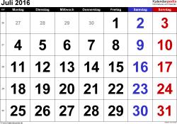 Kalender Juli 2016 im Querformat, grosse Ziffern
