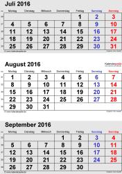 3-Monats-Kalender Juli/August/September 2016 im Hochformat