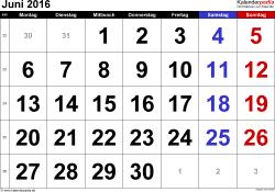 Kalender Juni 2016 im Querformat, grosse Ziffern