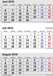 3-Monats-Kalender Juni/Juli/August 2016 im Hochformat