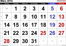 Kalender März 2016 im Querformat, grosse Ziffern
