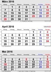 3-Monats-Kalender März/April/Mai 2016 im Hochformat