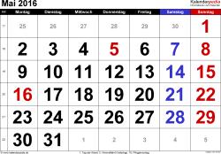 Kalender Mai 2016 im Querformat, grosse Ziffern