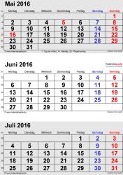 3-Monats-Kalender Mai/Juni/Juli 2016 im Hochformat