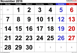Kalender November 2016 im Querformat, grosse Ziffern