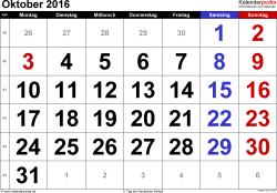 Kalender Oktober 2016 im Querformat, grosse Ziffern