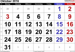 Kalender Oktober 2016 im